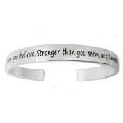 ALoveSoul You Are Braver Than You Believe Inspirational Cuff Bangle Bracelet, 17cm