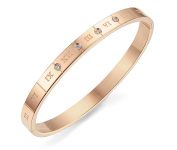 Ashley Jewellery Womens Cubic Zirconia Stainless Steel Bracelet, Roman Numerals Numbers Bangle, Rose Gold
