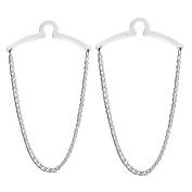 Zysta 2pc Premium Tie Chain Set Men Jewellery Polish Loop Link Button Hole Cable Tie Bar Chain Tack Clip Costume