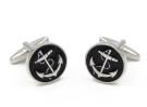 Gudeke Jewellery White Steel Plated Mens Vintage Nautical Anchor and Rope Black Cufflinks Set