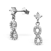 Infinity Loop Dangle Earrings with crystals - Real Sterling Silver - Boxed