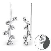 Pair of Sterling Silver Curved Ear Pin Climber Earrings - Boxed