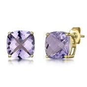 9ct Gold Earrings Cushion Chequerboard Cut Amethyst Claw Stud Earrings 8mm