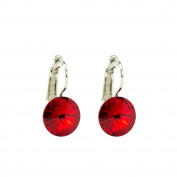 Eve's Jewellery Women's Earrings. Elements Light Siam Rhodium Plated Red Round Cut 00504250/222