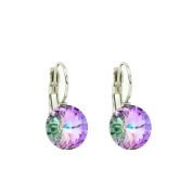 Eve's Jewellery Colourful Crystal. Elements Vitrall Light Drop Earrings Silver Plated Rhodium Plated Round Cut 00504250/302