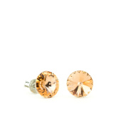 Eve's Jewellery Women's Stud Earrings Rhodium-Plated Silver Plated. Elements Light Colorado Crystal Beige Round Cut 00504036/252