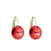 Eve's Jewellery Women's Earrings. Elements Padparadscha Rhodium Plated Red Round Cut 00501541/212
