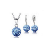 925 Sterling Silver Blue Crystal Shamballa Jewellery Set 4 Pieces