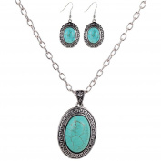 Women's Jewellery Set -Silver and Turquoise Necklace and Earrings