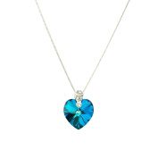 Eve's Jewellery Women's rhodium plated. Elements Crystal Bermuda Blue Heart Pendant with Chain 42 cm - 00506544 322