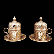 Two Ottoman Turkish Moroccan Bronze Brass Tea Coffee Cup Set