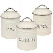 Retro Tea Coffee Sugar Canisters - Cream