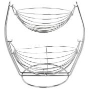 2 Tier Chrome Swinging Fruit Vegetable Bowl Basket Rack Storage Stand Holder New