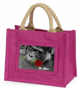 'Be Mine' Gorilla with Red Rose Little Girls Small Pink Shopping Bag Christmas G
