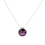Eve's Jewellery Women's necklace with pendant. elements crystal amethyst Rhodium Plated Purple Round Cut 42 cm - 00507988/382