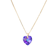 Eve's Jewellery Colourful Crystal Gold Plated Necklace with Pendant. Elements Crystal Heliotrope Heart Cut 42 cm - 00506540/412