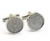 Sparkling Silver Wedding Luxury Cufflinks for Men Round 316L Stainless Steel 17*17mm