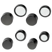 Aroncent Stainless Steel Men Stud Earrings for Women Magnetic Classical Non-Piercing Ear Stud Black