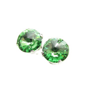 End of line clearance. 925 Silver stud earrings handmade with sparkling Peridot crystal from.