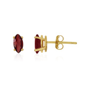 14k Yellow Gold Garnet Marquise Earrings