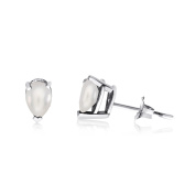 14k White Gold Pearl Pear-Shaped Earring