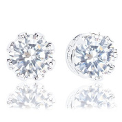 18k Gold Plated Cubic Zirconia Crown Solitaire Stud Earrings