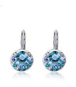 Fajewellery White Gold Plated Blue Diamond Earrings for Women