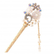 Sewanz Women's Gold Rhinetone Flowers Design Hair Clasp Hair Stick with Pearl Dangle Long Chain