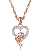 Infinite U Elegant Cute Dolphin Heart Pendant 925 Sterling Silver Cubic Zirconia Necklace for Women/Girls, Rose Gold
