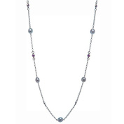 925 Sterling Silver Necklace with Cultured Freshwater Pearls and Amethyst