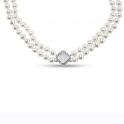925 Sterling Silver Necklace with Cultured Freshwater Pearls and Quartz
