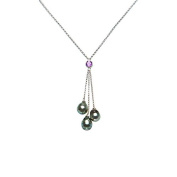 925 Sterling Silver Necklace with Tahitian Pearls and Amethyst