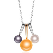 Hutang Jewellery 925 Sterling Silver Three Colour Freshwater Pearl Pendant Two-tone Necklace Summer Stlye Jewellery