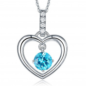 Fine 14K White Gold Swiis Blue Topaz Heart Pendant Necklace 0.04 Ct Diamond