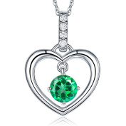 Fine 14K White Gold Green Topaz Heart Pendant Necklace 0.04 Ct Diamond