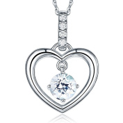 Fine 14K White Gold Clear Topaz Heart Pendant Necklace 0.04 Ct Diamond