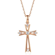 Fine Solid 14K Rose Gold Cross Pendant Necklace 0.14 Ct Diamond Jewellery