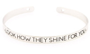 "Silver Plated Women Motivational Word ""LOOK HOW THEY SHINE FOR YOU"" Wanderlust Bangle Bracelets"