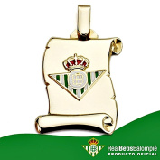 Real Betis shield pendant sterling 18k gold parchment large [8609GR] - RECORDING INCLUDED IN PRICE