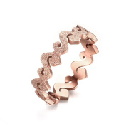 LAMUCH Women's Stainless Steel Matte Rose Gold Ring