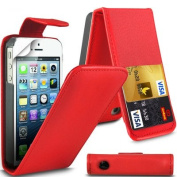 Stunning Apple iPhone SE Red Flip Wallet PU Leather Case Cover with Two Card slots For Apple iPhone SE by G4GADGET®