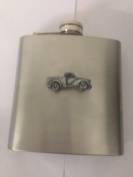 Morris Minor Pick Up ref162 pewter effect car emblem on 180ml Stainless Steel Hip Flask Captive Top