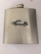 MG A Coupe ref127 pewter effect car emblem on 180ml Stainless Steel Hip Flask Captive Top