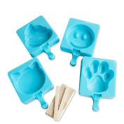Qearly Cute Blue Silicone DIY Ice Pop Mould Popsicle Moulds Ice Trays Ice Cream Maker For Kids-One Piece Of Cat Face