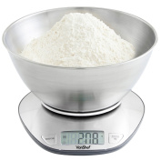 VonShef Digital Electronic Mixing Bowl Kitchen Scales with 5kg Capacity - Stainless Steel - FREE 2 Year Warranty