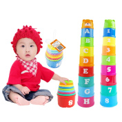 Smartings(TM) 1 Set New Baby Children Kids Educational Toy Figures Letters Folding Cup Pagoda Gift Math Toy