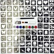 Glitter Tattoo Kit 25 - (Complete Kit ) Princess And Super Hero Theme 88 Large Stencils 3 Brushes 8 Glitter 500 Gems 10ml Glue