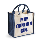 Medium Jute Bag May Contain Gin Navy Blue Bag Mothers Day New Mum Birthday Christmas Present