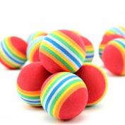SevenMye 5 Pcs Rainbow Ball EVA Foam Sponge Pet Dog Puppy Snack Ball Chew Training Toy
