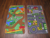 Kids City And Farm Reversable Play Mat/Rug 57cm 100cm